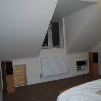 Bedroom dormer with integrated stereo system